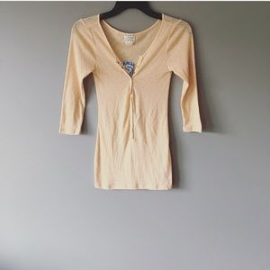 NWT Free People Apricot Diamond Thermal Button Top
